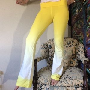 Hard Tail Yellow Ombre' White Flare Leggings